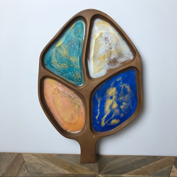 Wood And Epoxy Serving Platter Multicoloured